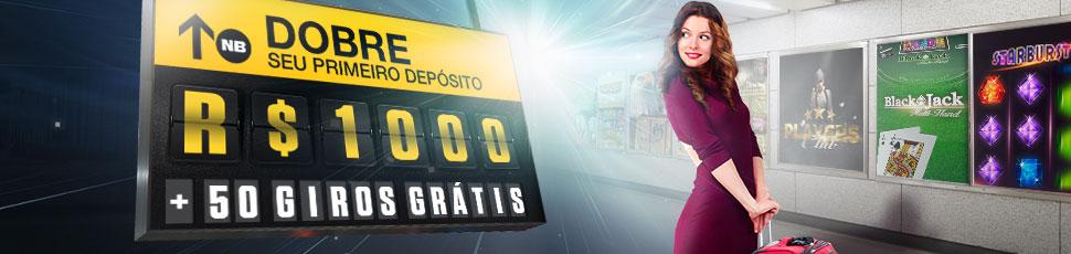 100% até R$1000 DE BÔNUS DE BOAS-VINDAS + 50 GIROS GRÁTIS